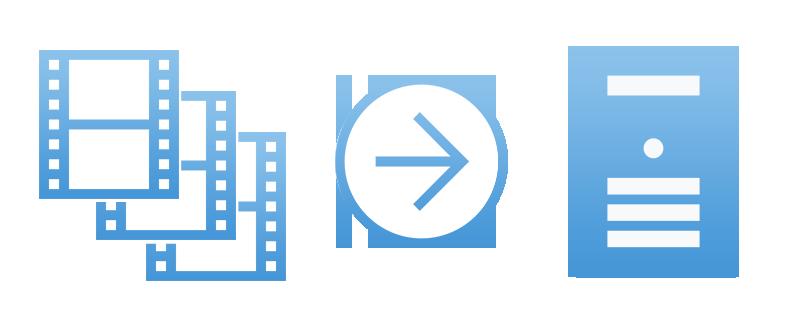 視聴動画ファイルはサーバで保存イメージ